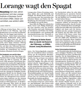 Handelszeitung, MBA, MBA Special, Lorange Institute of Business