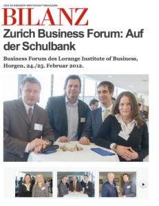 Fotostrecke der Bilanz, dem Wirtschaftsmagazin der Schweiz, über das Zurich Business Forum in Horgen.