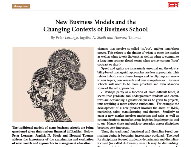 New Business Models and the Changing Contexts of Business School