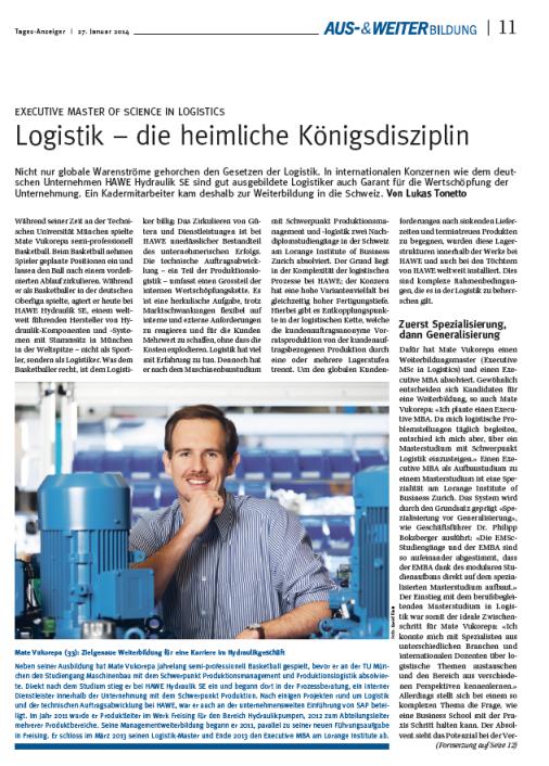 EMBA Weiterbildung Zürich Tagesanzeiger